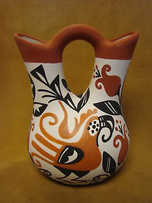 Acoma Indian Pottery Hand Painted Wedding Vase by Keith Sr. PT0252