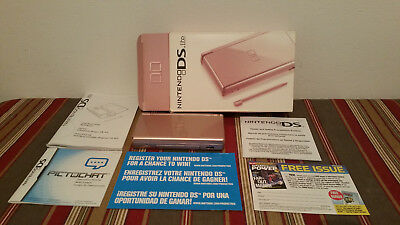 Nintendo DS Lite  Metallic Rose  Console-box-charger-stylus & inserts