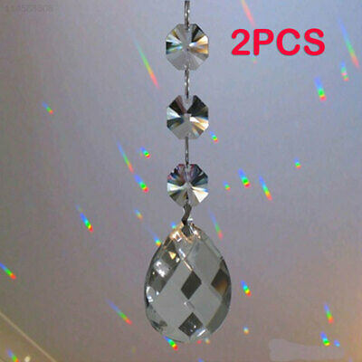 7D89 Portable Rainbow Prism Chandelier 2pcs Garland Strand Decorations
