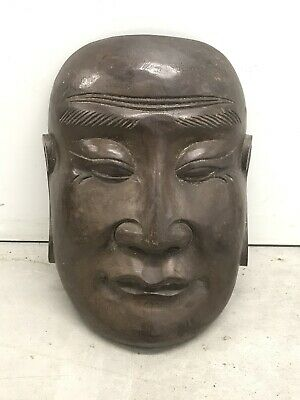 Antique Chinese Carved Wood Mask Buddhist c1890