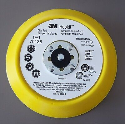 "3M Hookit™ 70138 Disc Backing Pad 6"" x 3/4"" Medium 5/16-24 EXT Thread - NEW"