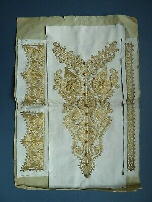 Antique fine elaborate gold thread embroidered panel wedding bodice India Turkey
