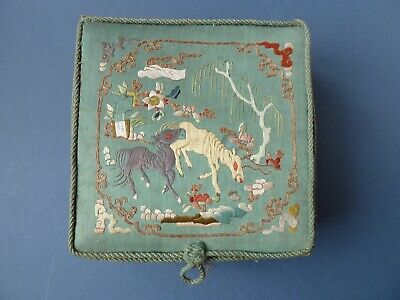 Antique Chinese embroidered silk box animals flowers couched thread