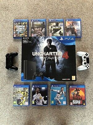 Sony PlayStation 4 Slim 500GB Matte Black Console With Controllers And Games