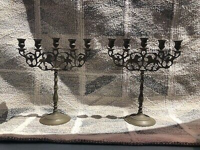 "16"" Tall Pair of Vintage Brass Bronze Candelabra Candlesticks GREAT CONDITION"