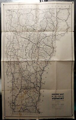 """Vintage Highway Map For The State Of Vermont - 1947 - Pre-Interstate 25 X 41"""""""