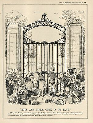 Vintage Punch 1936 Cartoon - King George's Fields - Appeal For Funds