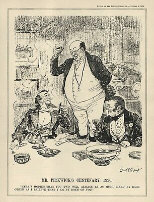 Vintage Punch 1936 Cartoon - Charles Dickens - Centenary Of Pickwick Papers