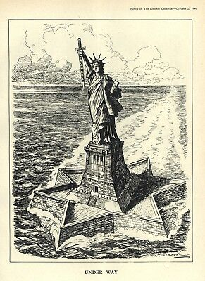 "Vintage Ww 2 Cartoon: Statue Of Liberty - Sword Conscription ""Under Way"" U.s.a."