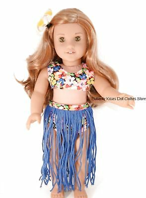 Blue Hula Costume + Hair Flower 18 in Doll Clothes Fits American Girl Dolls #2
