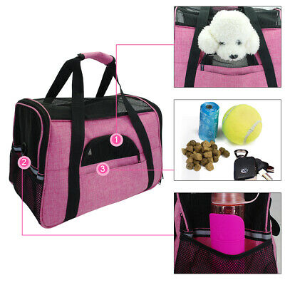 Nylon Mesh Pet Carrier Soft Sided Cat Dog Comfort Tote/Airplane Travel Bags Pink