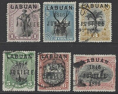 LABUAN 1896 Jubilee of Cession to GB compl.set of 6 VF used SG#83-88 cat £110.00