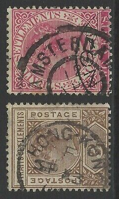 STRAITS SETTLEMENTS 2x unusual cancel/postmark stamp AMSTERDAM/used in HONG KONG