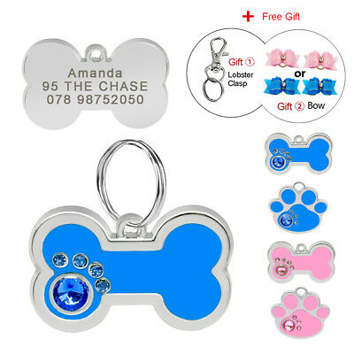Bone/Paw Personalised Dog Tags Cat Pet Name ID Disc Disk Engraved Free Hair Bows