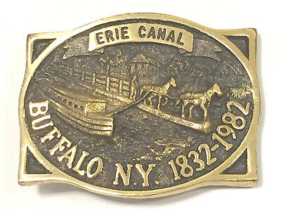 Vintage Belt Buckle Solid Brass Heritage Mint Buffalo NY Erie Canal 1832-1982