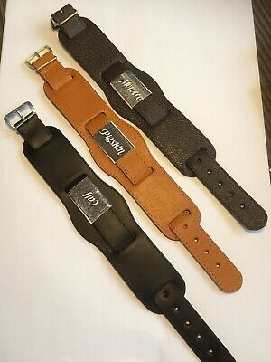 18mm Leather Pull Through Strap Military Style Shaped Cuff Watch Strap