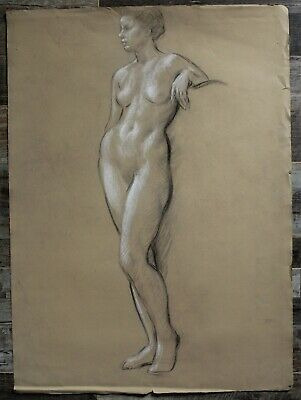 Listed Canadian Stanley Gordon Moyer (1887-1968) Drawing - Nude Female No.4
