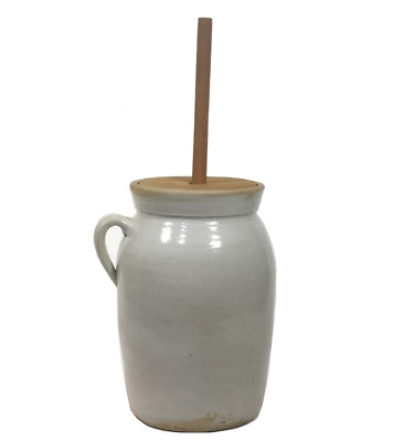Antique Butter Churn Stoneware Glaze Single Handle Crock Wooden Lid Dasher 2 Gal