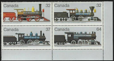 "1984 Canada SC#1036 to 1039 ""Canadian Locomotives""  - LR plate block - MNH"