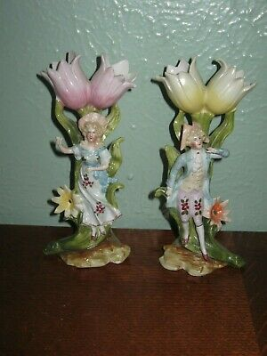 Pair of Antique German French Porcelain Figurines Vase- Thumbelina Tulips Couple
