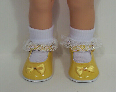 DK (Dark) YELLOW Patent Mary Jane Doll Shoes w/Satin Bow For Chatty Cathy (Debs)