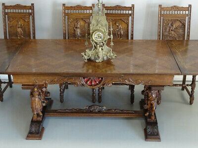 Antique French Brittany Kitchen Dining Breakfast Table 2 Leaf Extension Oak 1900