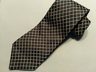 Dunhill Men's Silk Tie In Navy And Gold Classic Geometric Pattern