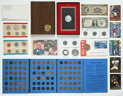 BIG Coin Collection SILVER Coins, Mint Sets, Paper Money, Tokens Junk Drawer Lot