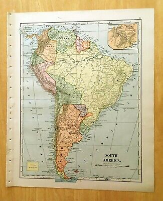 Antique Map 1896 SOUTH AMERICA 10 1/4 X 12 1/4 Original