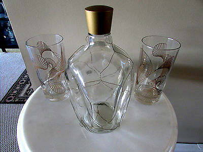 Decanter and Glasses  Haig&Haig Liquor Scotch Pinch Bottle Gold Scotland 8in VTG