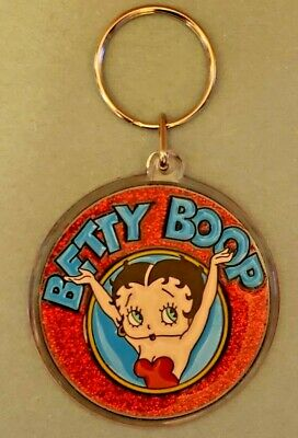80's/90's Round BETTY BOOP Keychain - Glittery and Fabulous! EXCELLENT CONDITION