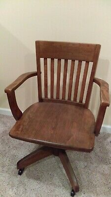 Vintage Oak Banker's Chair
