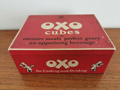 Vintage OXO Cubes Advertising Tin * 'Makes An Ideal Lunch Box' Kitchenalia
