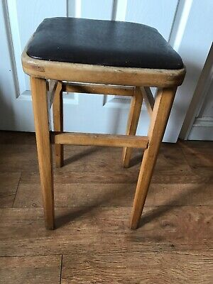 Retro Vintage Mid Century Vinyl Topped Wooden Kitchen Stool. Changeable tops
