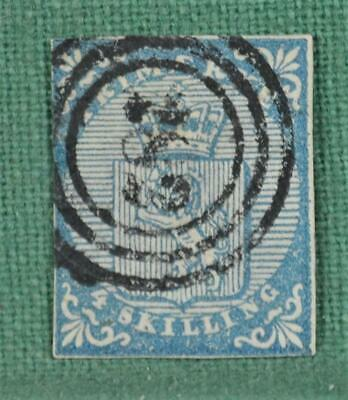 NORWAY STAMP 1855 4s BLUE  SG 1 USED (R104)