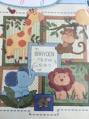 Dimensions Baby Hugs Savannah  Baby Birth Record Counted Cross Stitch Kit NEW