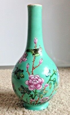 Antique Chinese Famille Rose Turquoise Ground Enameled Bottle Vase