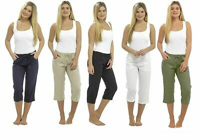 Ladies Cropped Linen Trousers Womens 3/4 Length Shorts UK Size 10 12 14 16 18 20