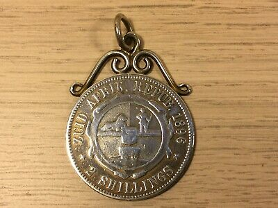 Antique ZAR South Africa 2 Shilling 1896 Solid Silver Coin Pendant Fob.  (MJ710)