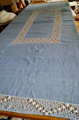 "VINTAGE LOOSE WOVEN BLUE LINEN TABLECLOTH White Drawn Thread Work 93"" x 62"" #T22"