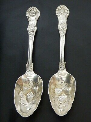 Rare Sterling Solid Silver Antique Pair Berry Spoons Victorian London 1847  180g