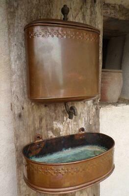 Stunning Antique French Copper Lavabo Set Complete with Water Tank, Basin & Tap