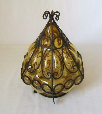 Vintage Mid Century Light Amber Glass Lamp Shade Hand Blown in Iron Cage 21 cm