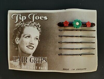Vintage Hair Barrettes - Hand Painted Green Flower Barrette and 5 Bobby Pins