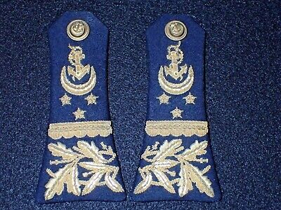 Orig. WWI Ottoman Empire Naval Officers' Shoulder Board PAIR, Fine Navy Bullion