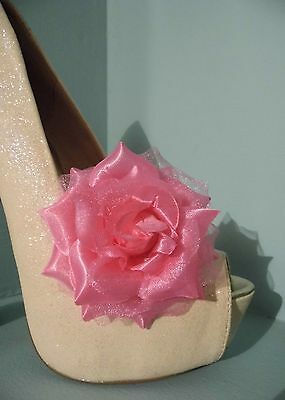 2 Pink Rose Clips for Shoes