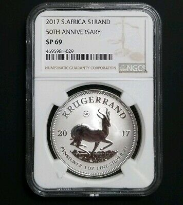 2017 South Africa Silver Krugerrand 1oz 50th anniversary Privy NGC SP-69 w/ COA