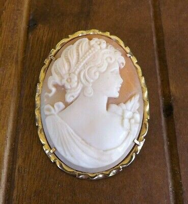 Vintage Cameo Brooch/Pendant 14k (585) Yellow Gold