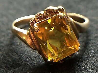 Ring Yellow Sapphire Offset 14K Yellow Gold Lab Created Sapphire Vtg Ring Size 5