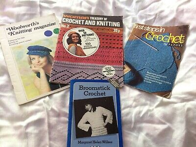 4 x vintage CROCHET pattern books & mags 1970s including broomstick craft knit
